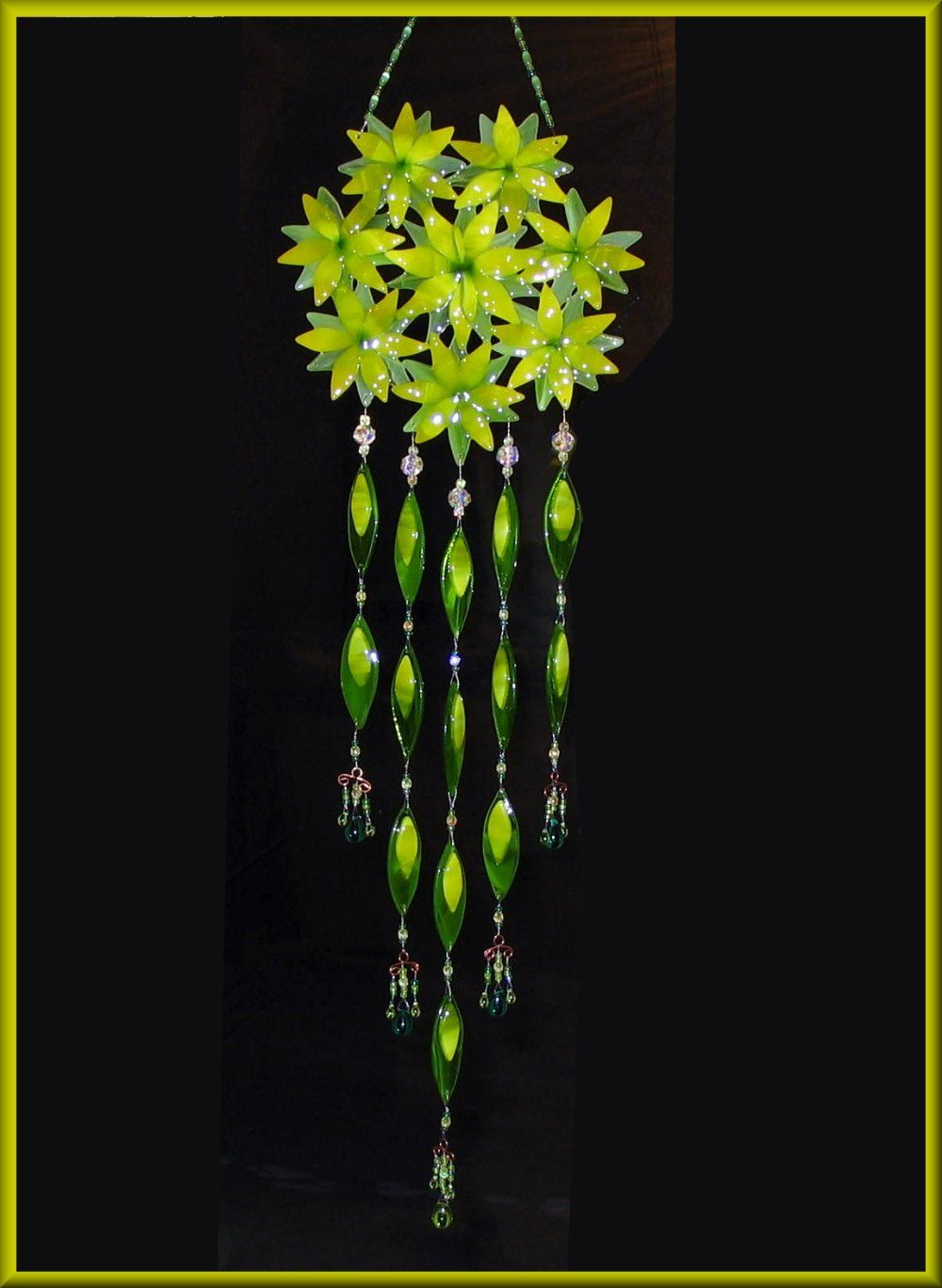 green flower and crystal wind chime