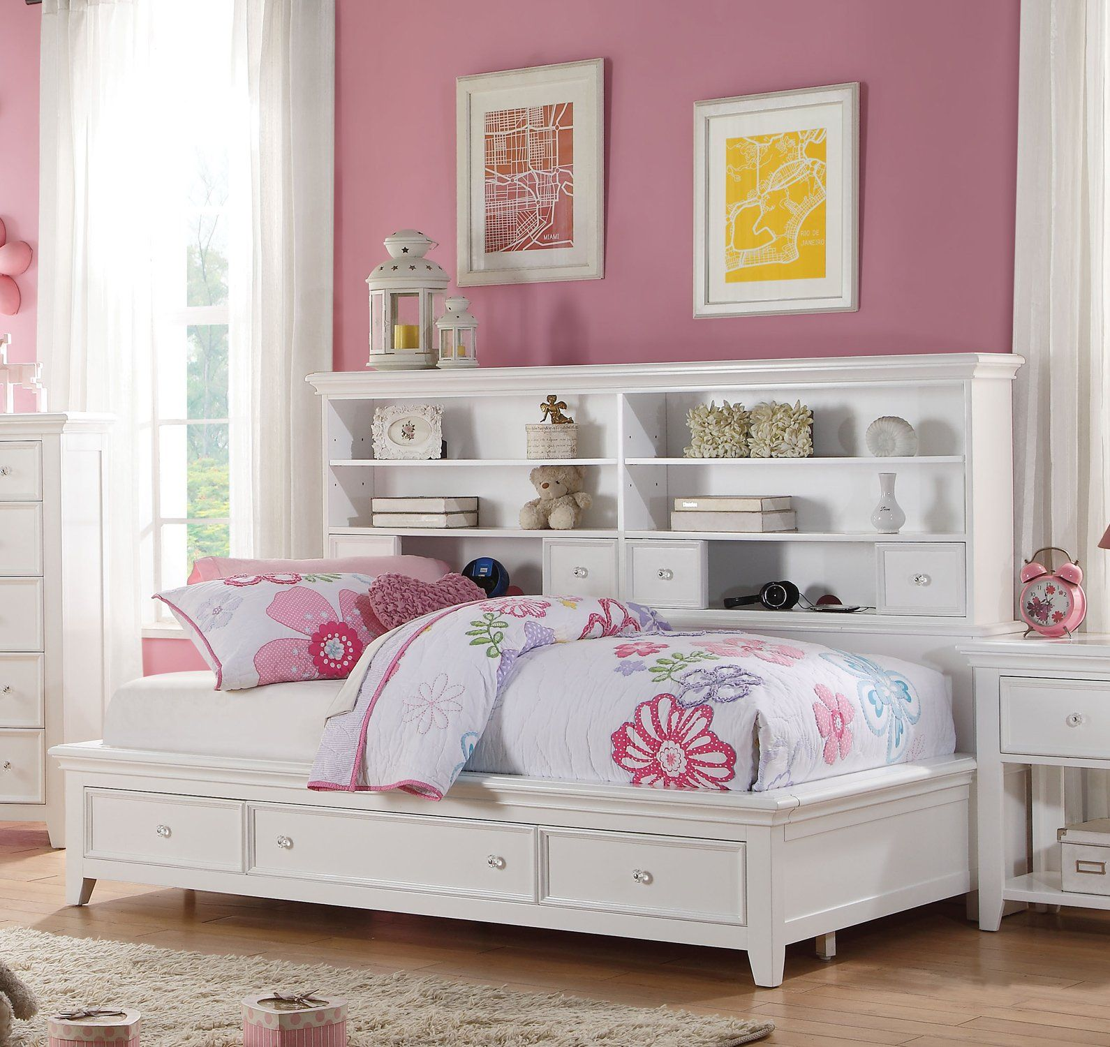 Acme 30590T Lacey White Storage Twin Bookcase Daybed in