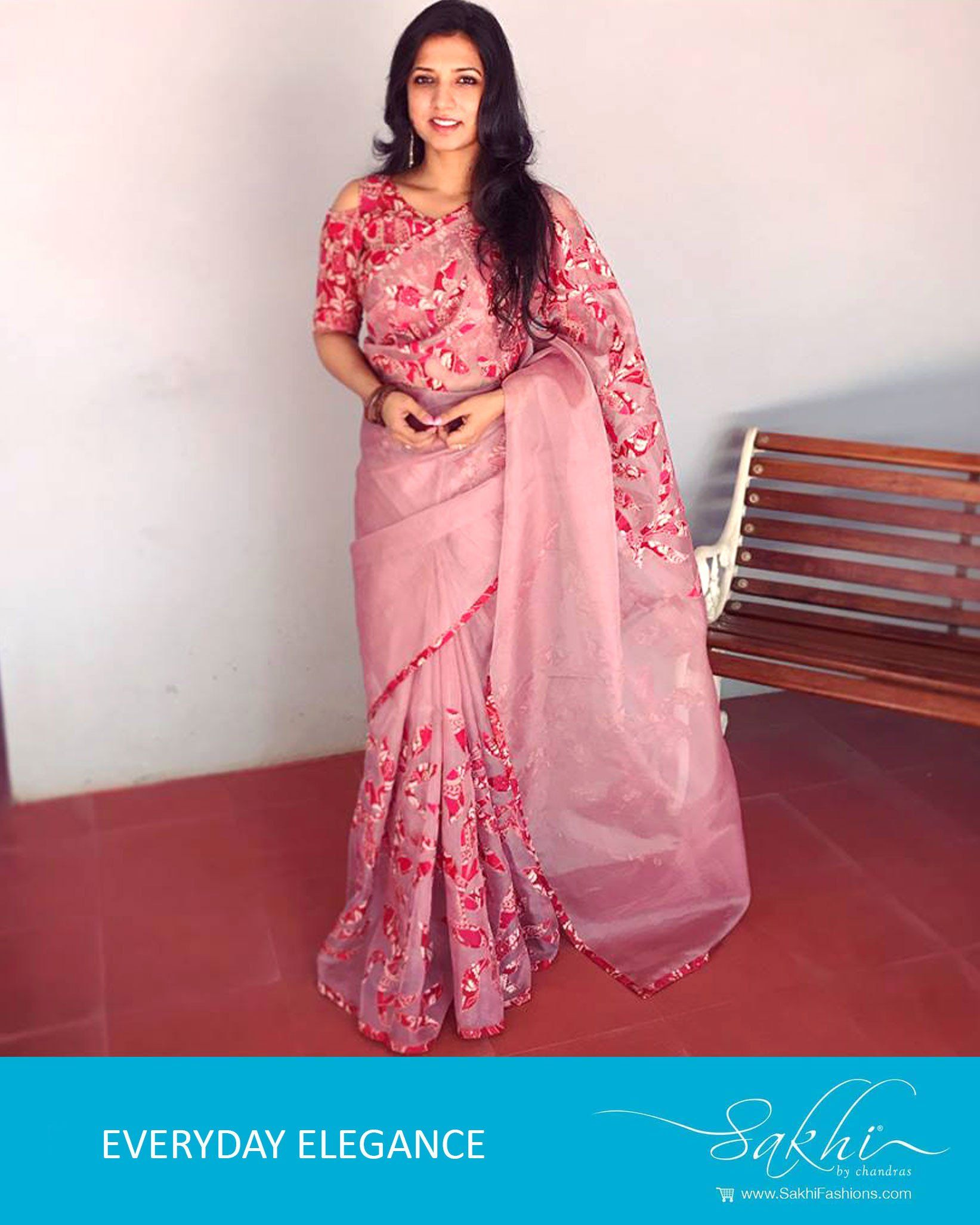 0ed8941fb2 EE-R1097 - Pink & Red Pure Organza Silk Saree $185   View the most ...