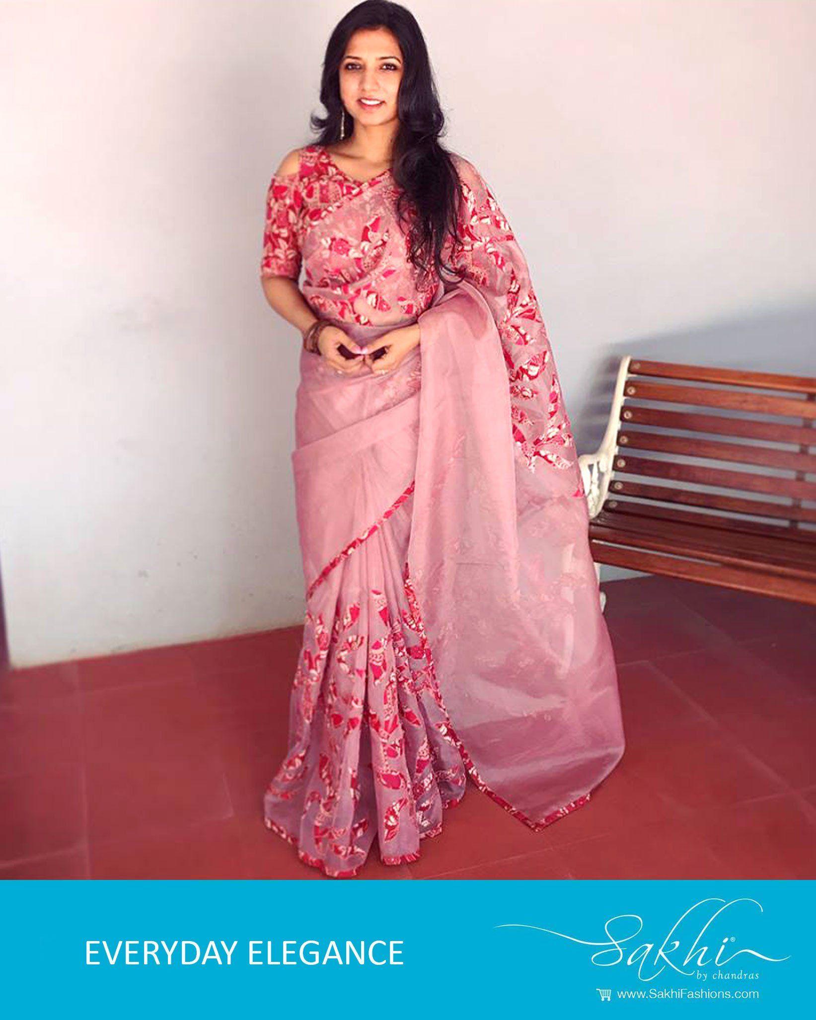 2d6c4c8e84 EE-R1097 - Pink & Red Pure Organza Silk Saree $185 | Sarees in 2019 ...
