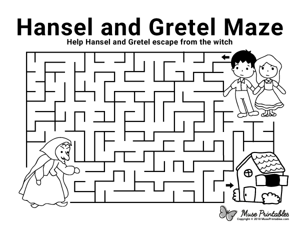 Free printable Hansel and Gretel maze. Download the maze
