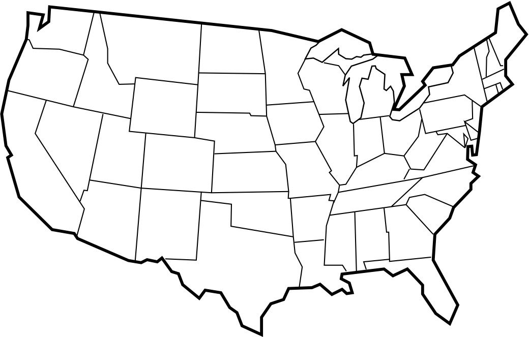 Blank Usa Map With Thick Black Borders
