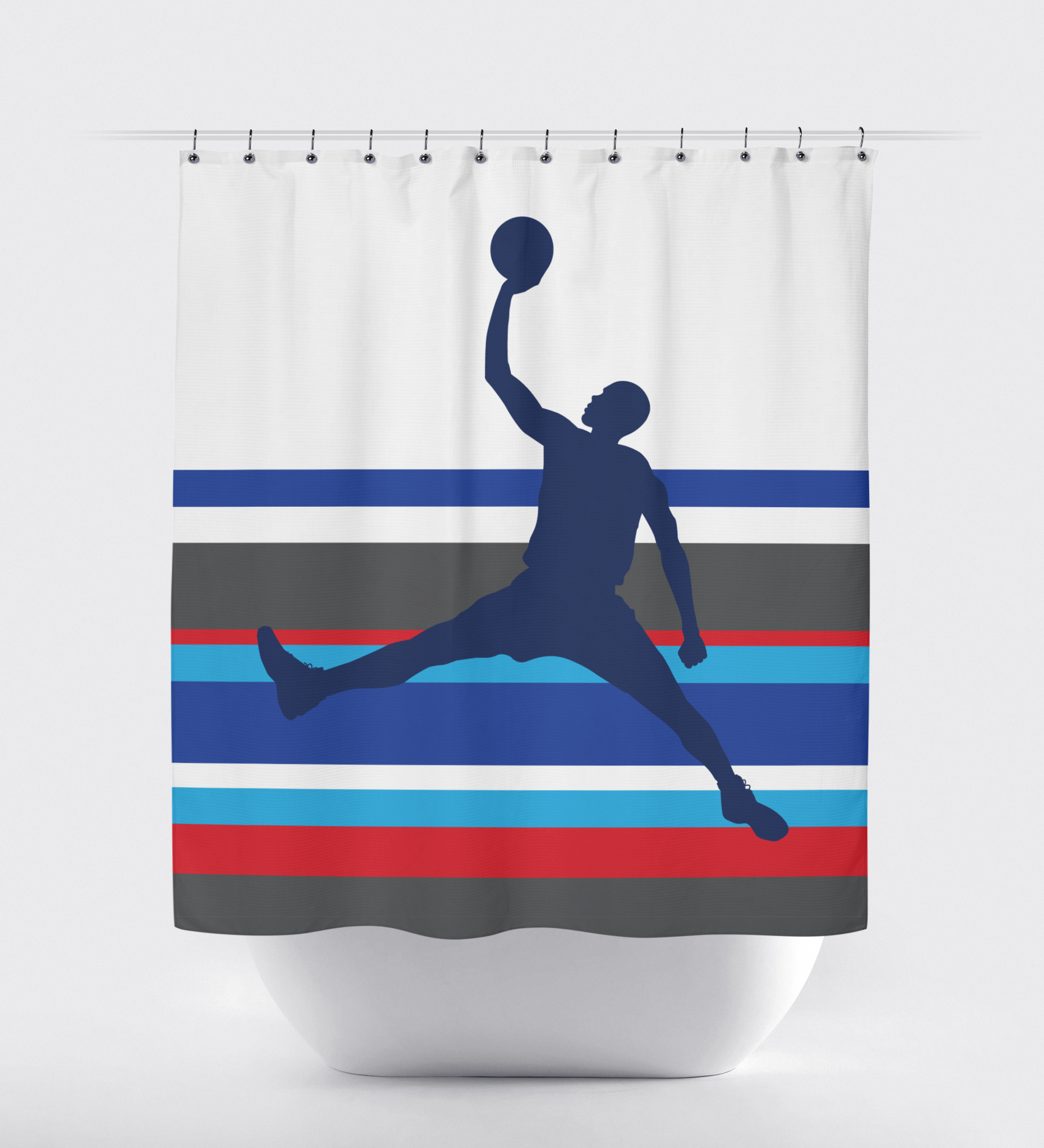 Basketball Multi Striped Shower Curtain Royal Blue Charcoal