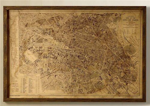 Vintage Paris Map From Restoration Hardware Rustic Parisian: Framed Map Of Paris At Slyspyder.com