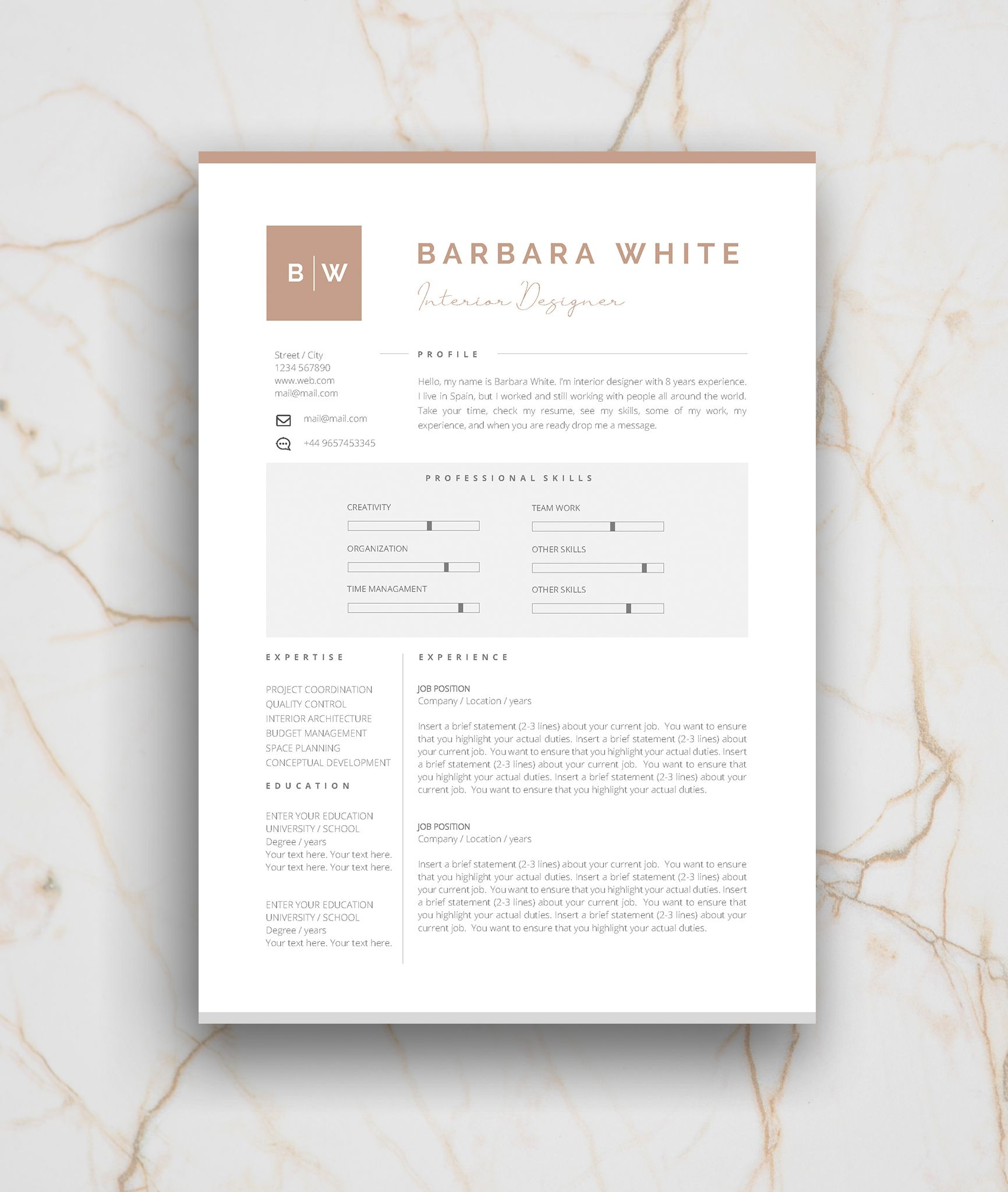 Resume Template 3 Page Cv Template Cover Letter Instant Etsy Self Branding Resume Template Cover Letter Design