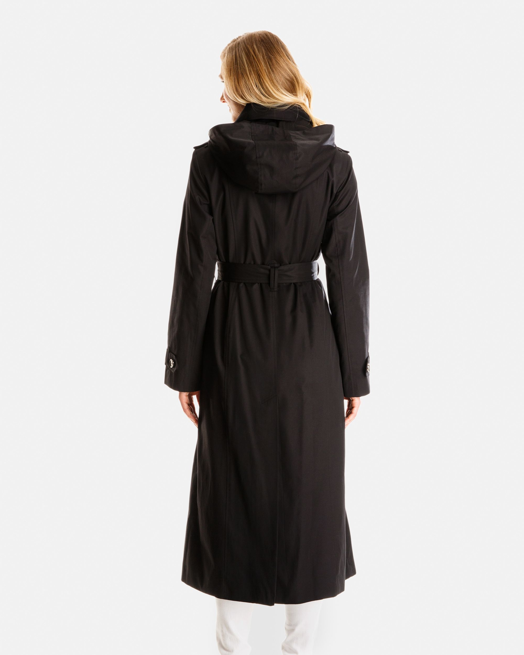 Morgan Long Trench Coat with Detachable Hood