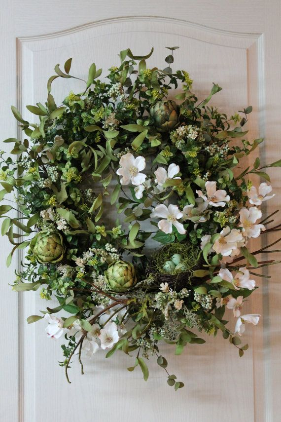 Elegant Country Spring/Summer Door Wreath by FloralsFromHome, $162.00