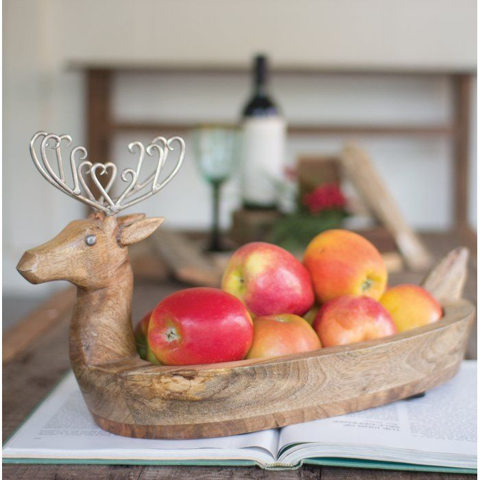 Spode Christmas Tree Candle Holder: Hand Carved Mango Wood Reindeer Bowl With Metal Antlers