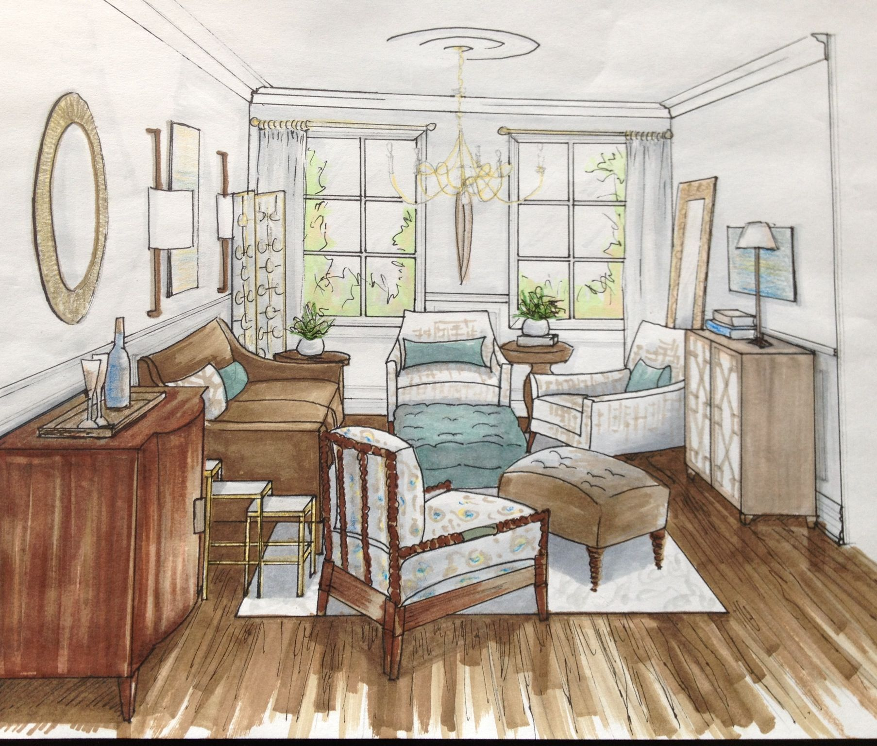 Living Room - Sketch  Desain interior, Interior, Desain
