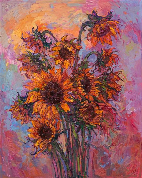 Sunflowers Oil Painting By Modern Expressionism Painter Erin