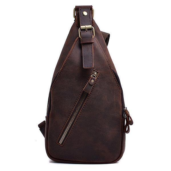 Genuine Leather Vintage Chest Bag Solid Sling Bag Crossbody Bag For Men