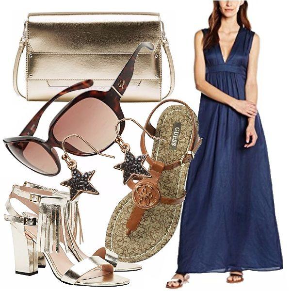 Long dress leggero in mussola di cotone, versatile in diverse occasioni e comodo per passare dal giorno con sandali rasoterra alla sera con tacchi alti e un tocco prezioso.
