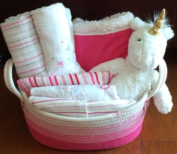 Unicorn baby basket pink and white baby girl baby shower gift idea unicorn baby basket pink and white baby girl baby shower gift idea super cute negle Images