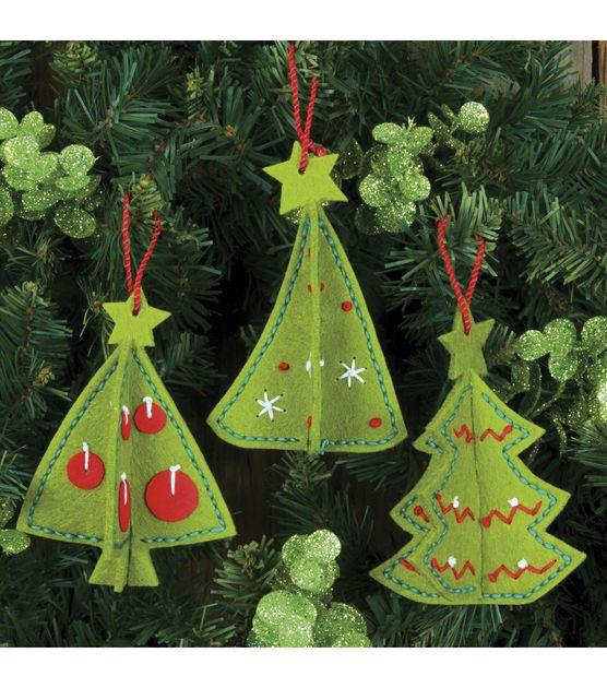 Dimensions Felt Applique Kit 3 D Ornaments Jo Ann Felt Christmas Ornaments Christmas Tree Ornaments Felt Felt Christmas Decorations