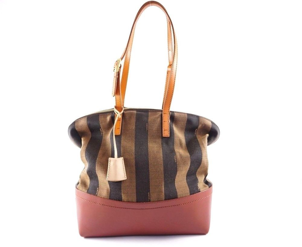 ea37b765b2 Fendi Roma Pequin striped Canvas Brown Leather Tote Bag Authentic  striped   fendi