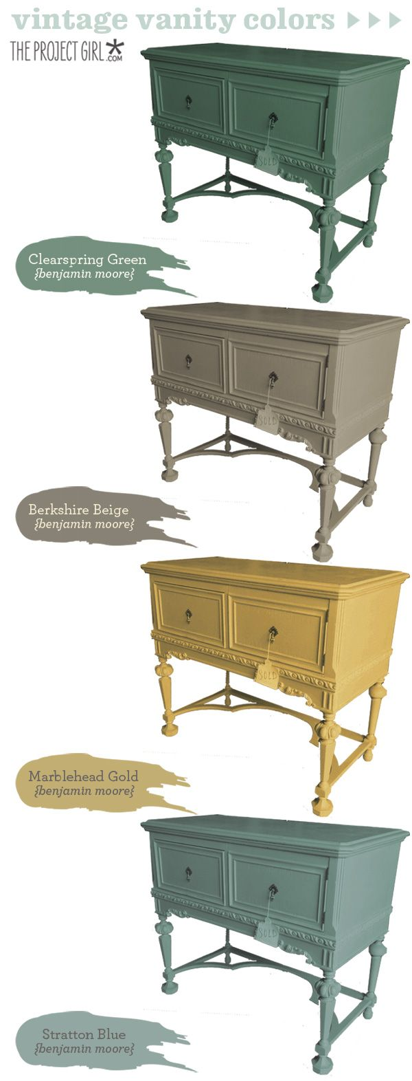 Vintage Furniture Paint Color by Benjamin Moore. Benjamin Moore  Clearspring…love the yellow for home accents! - Love These Colors For Refinishing The Buffet. Project House Powder