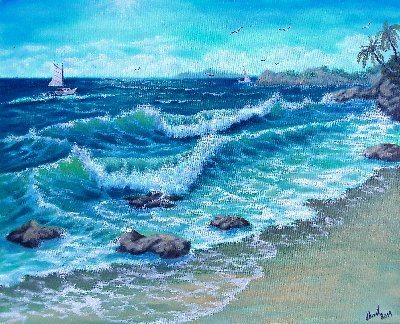 16 20 Waves Art Ocean Painting Seascape In Oil Landscape Art Ocean Art Surf Art Blue Green Painting Art Home Decor Waves Crashing Gift Green Art Painting Ocean Painting Surf Art