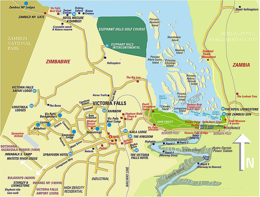Map of Vic Falls Zimbabwe Victoria Falls Zambezi River
