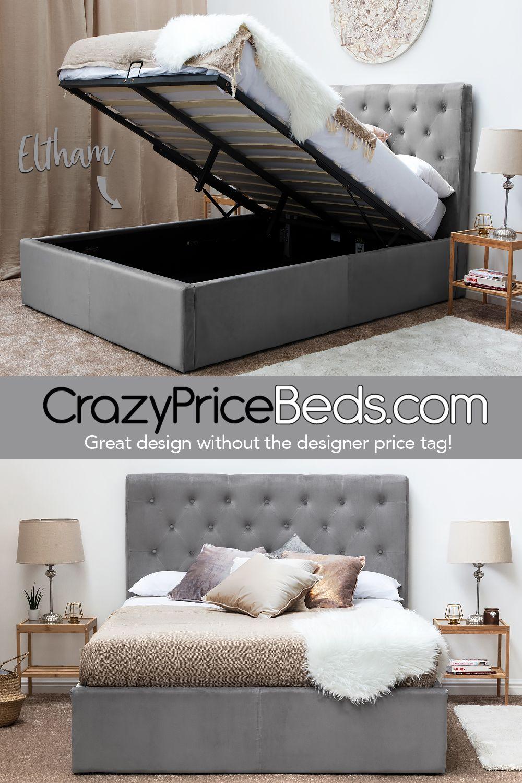 Eltham Grey Velvet Upholstered Lift Up Ottoman Storage Bed