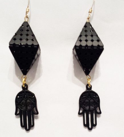 Hamsa Earrings- Black on Black - Vangielina Jewelry