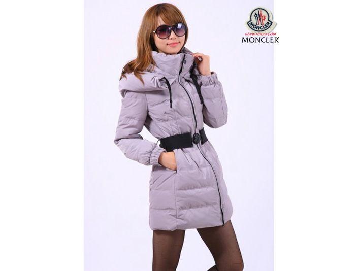 Online Shop Moncler Damen Classic Long Down Coats Grau Sale