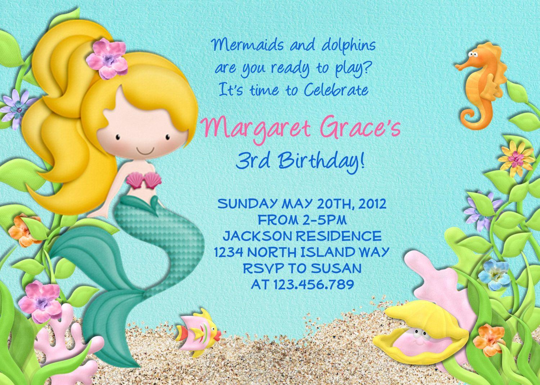 Mermaid Birthday Party Invitation - Under the Sea Birthday ...