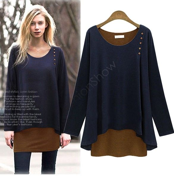 Willow S Womens Autumn Simple Fashion Casual Solid Color Round Neck Long-Sleeved Shirt