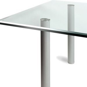 David Lane Office Furniture   Glass Top Table With Post Legs.