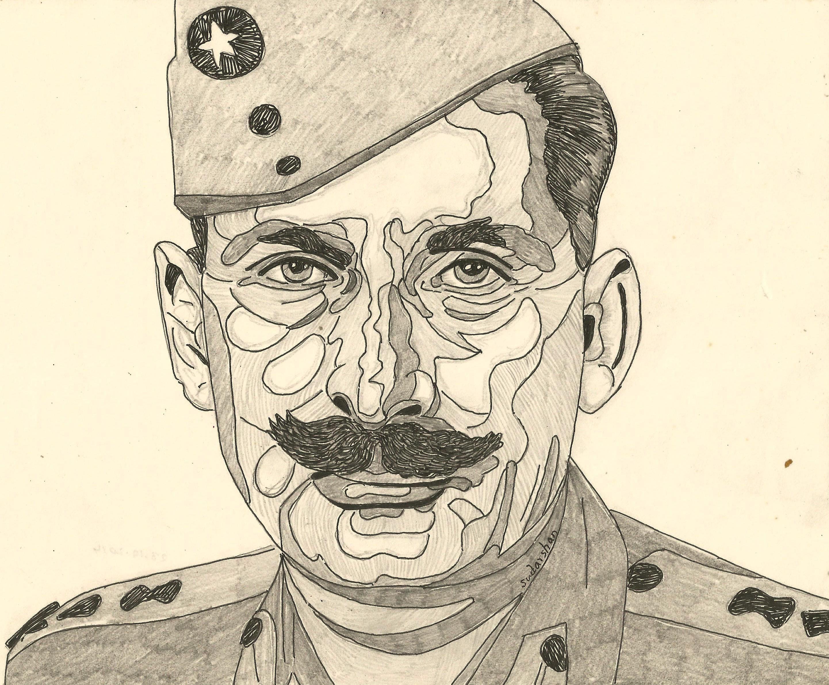 Field Marshall Sam Manekshaw Person Sketch Military Art Field Marshal