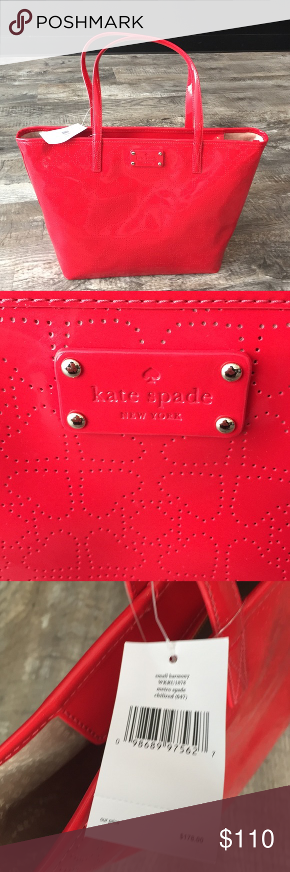1day SALE Kate spade harmony tote nwt handbag Kate spade red harmony tote nwt handbag purse . Beautiful brand new bag with tags retail 178. Pretty inside lining with pockets and zipper pocket inside 17 wide 10 tall x6    . Adorable spade pattern. kate spade Bags