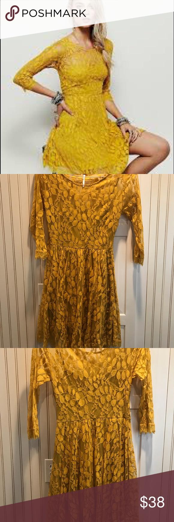 Yellow dress long sleeve  Free people yellow lace dress  Lace dress People dress and Free people