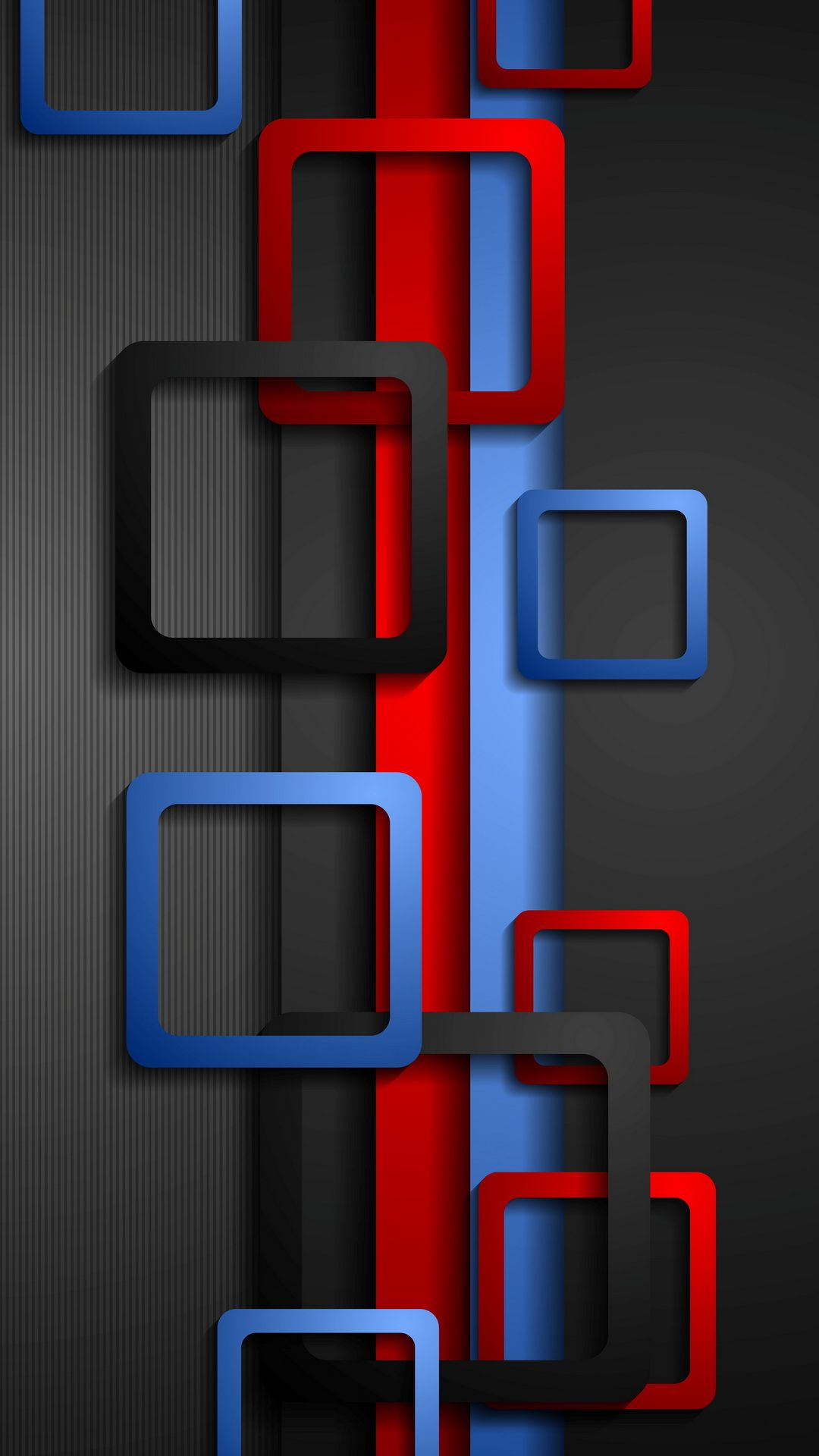 Wallpaper Full HD for Mobile with Red Blue and Black Box