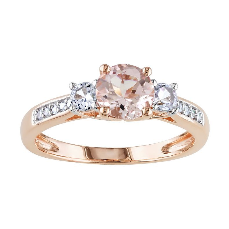 Jcpenney 10k Rose Gold Morganite 3 Stone Ring Jcpenney Rose Gold Morganite Pink Gold Rings Women Rings