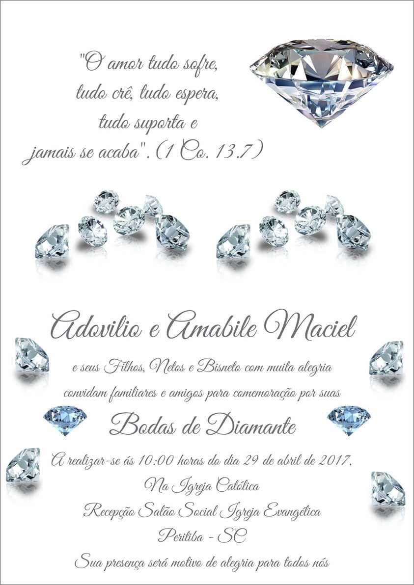 Convite Bodas De Diamante 60anosdecasados Bodasdiamante