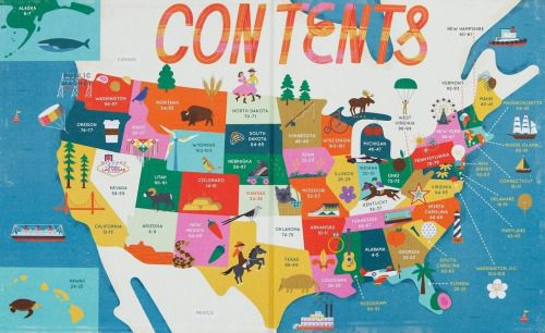 interestingmaps An illustrated map of contents with US Maps