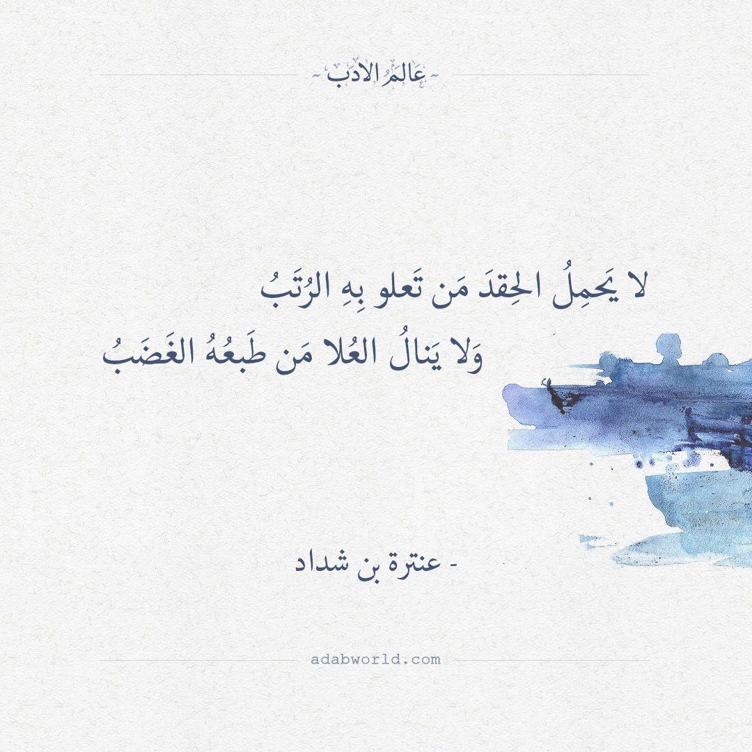 لا يحمل الحقد من تعلو به الرتب عنترة بن شداد عالم الأدب Words Quotes Quotes For Book Lovers Poet Quotes
