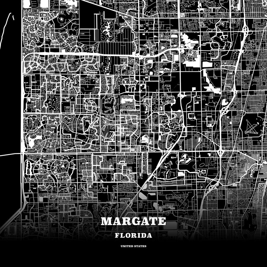 Margate Florida Map.Black Map Poster Template Of Margate Florida Usa Maps Vector