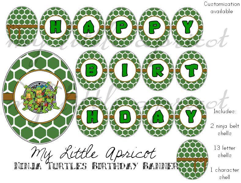 Personalized Teenage Mutant Ninja Turtle Digital Printable Birthday Banner