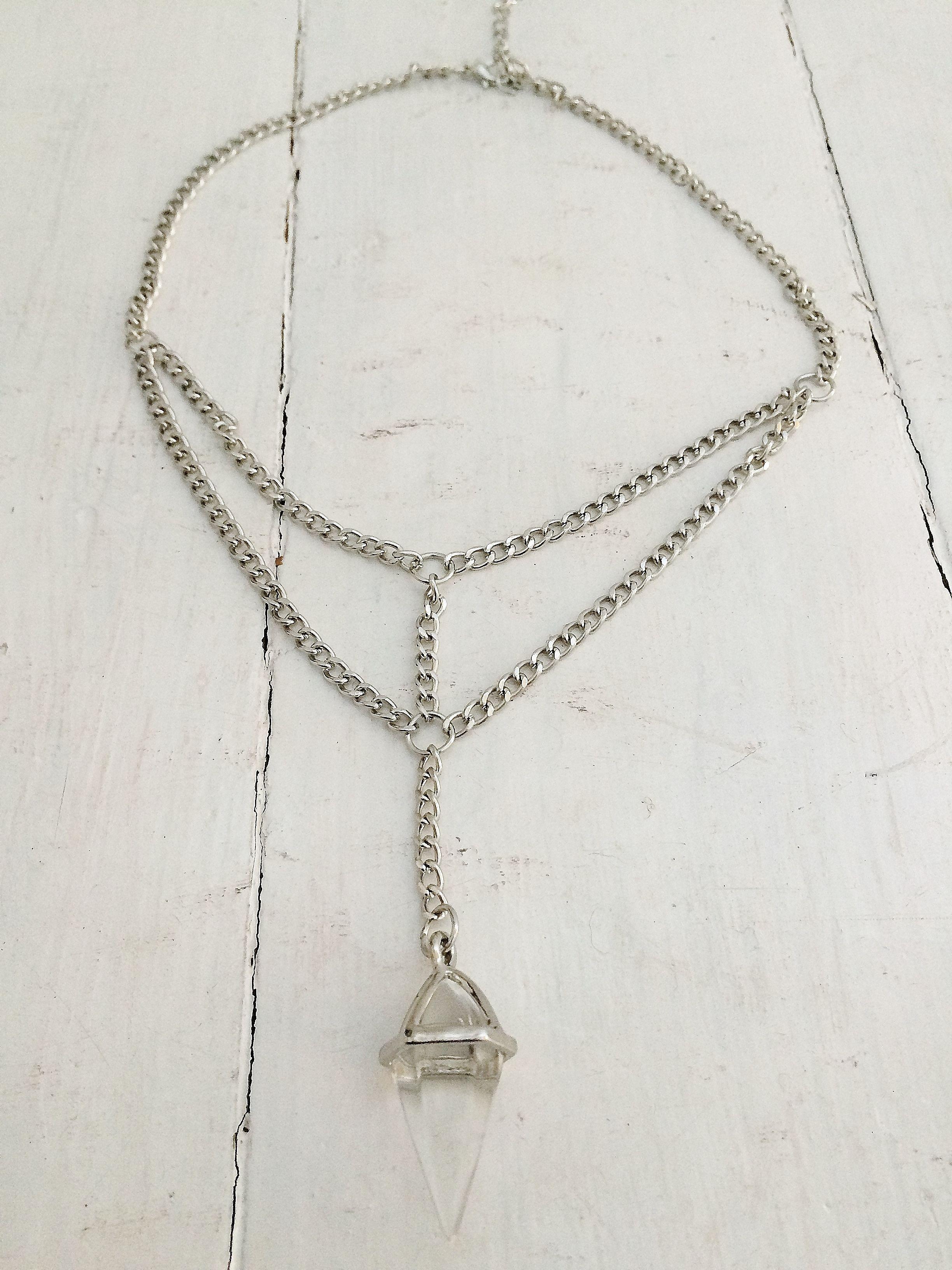 Lantern prism drop chain necklace - Silver