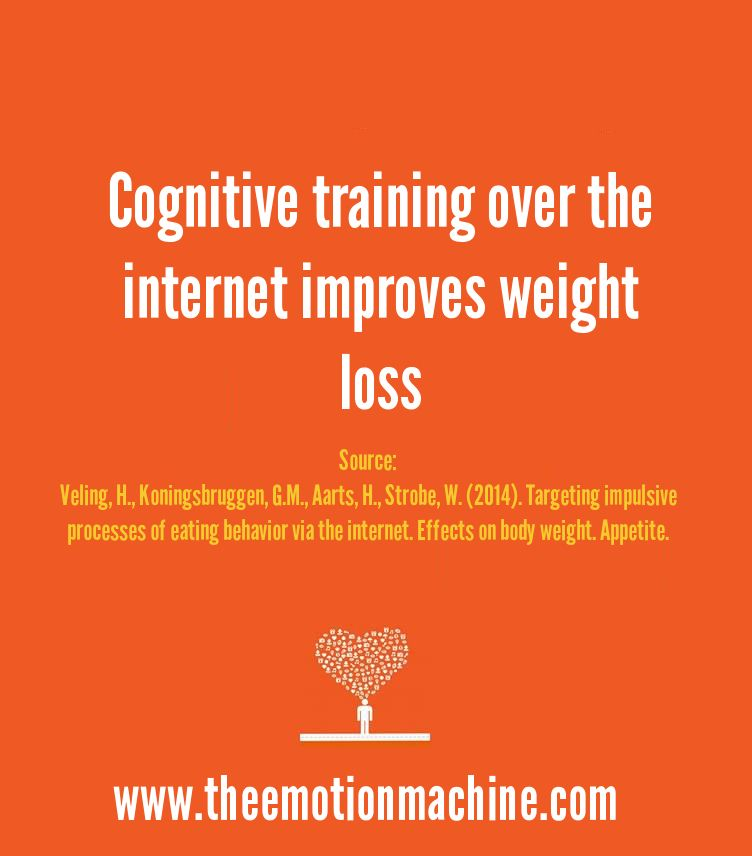 """In a 2014 study published in the journal """"Appetite,"""" it was discovered that both """"go/no go"""" and """"implementation intentions"""" - 2 types of cognitive strategies - influenced weight loss when compared to controls."""