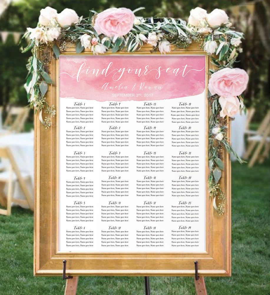 wedding seating chart template find your seat sign blush