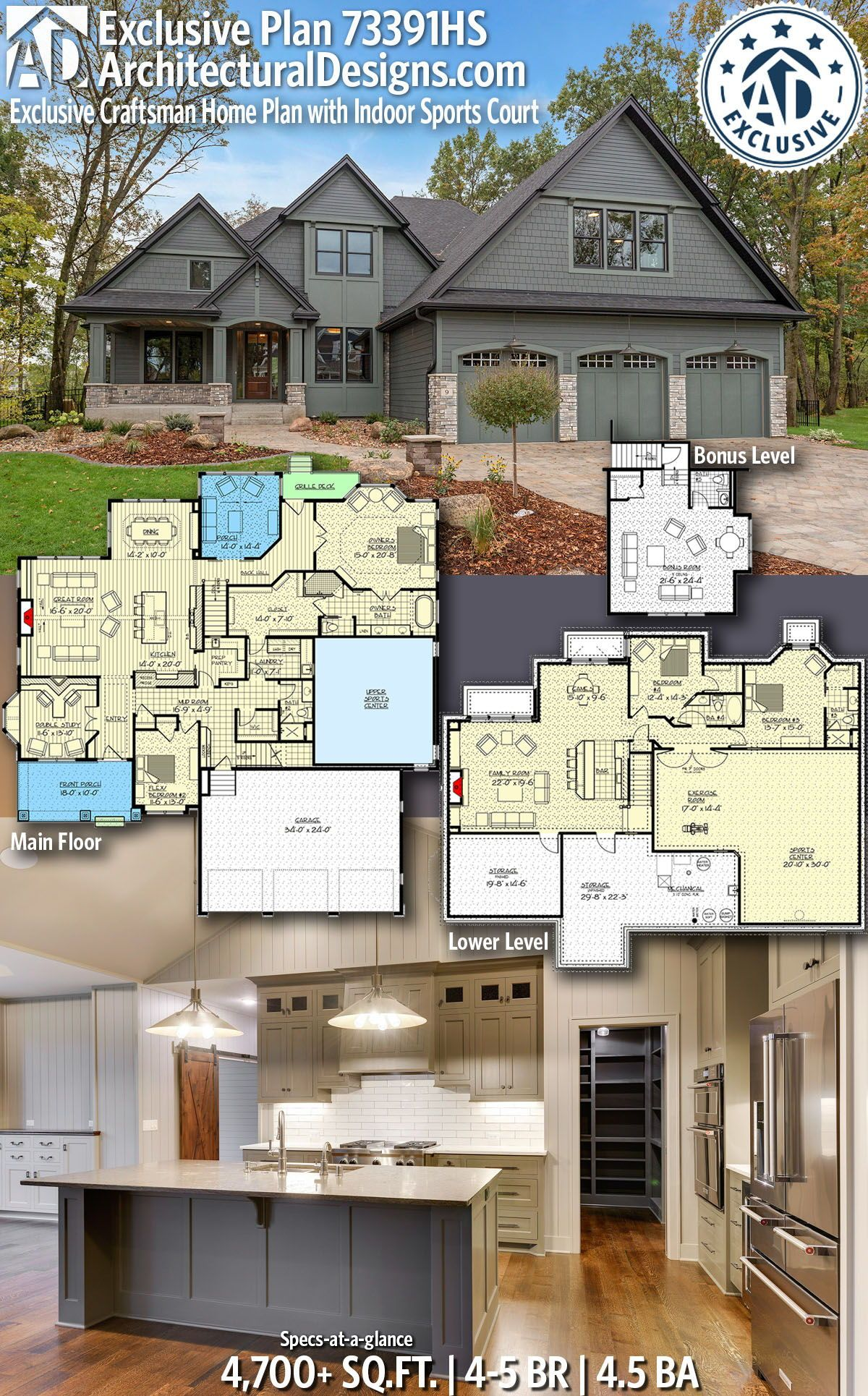 Architectural Designs Exclusive Home Plan 73391HS Gives You 4 5 Bedrooms,  4.5 Baths And