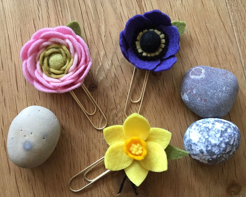 Set of Spring Flowers Felt Planner Clips Daffodil Anemone