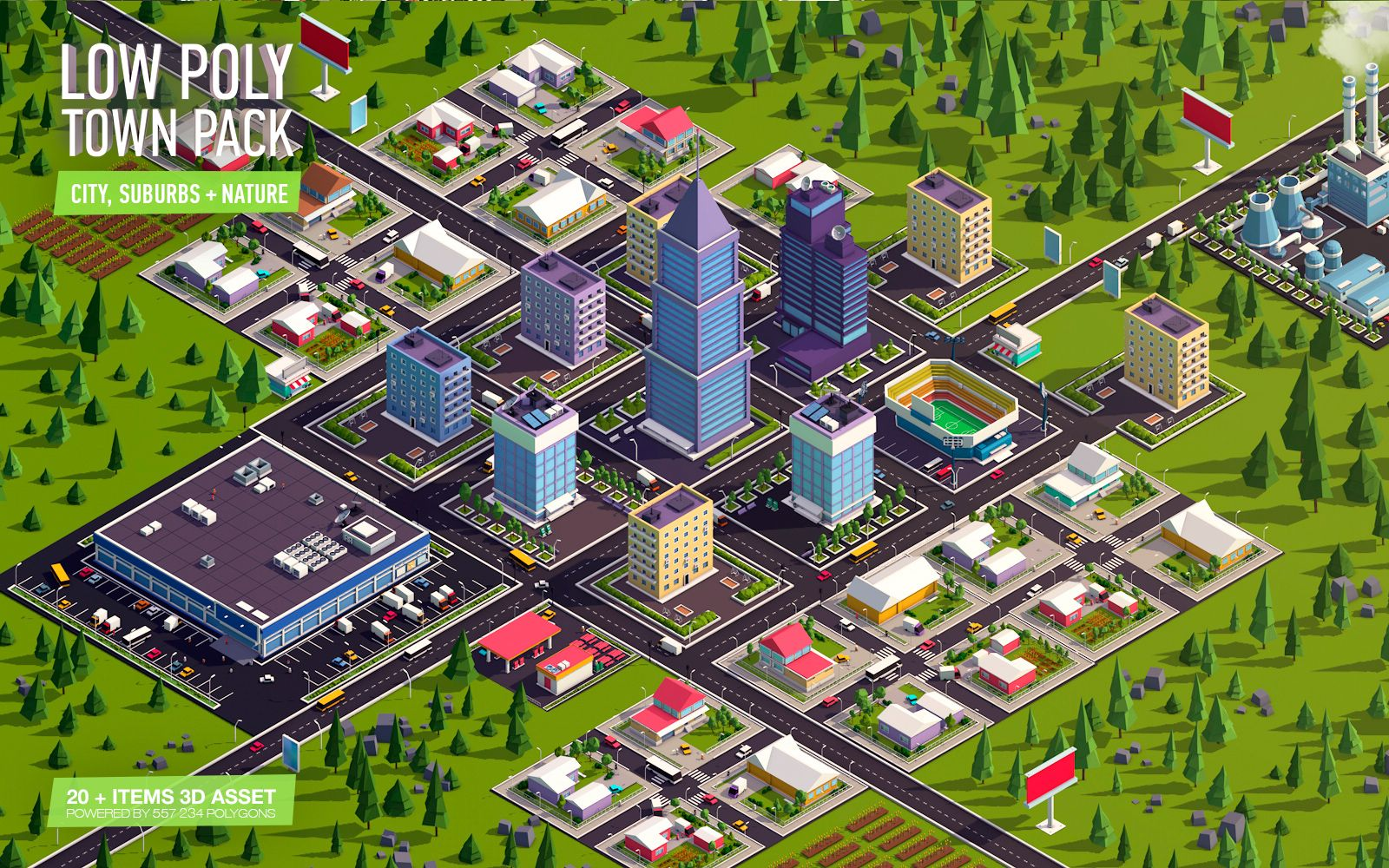 Cartoon Low Poly Town City Pack With Images City Low Poly Poly