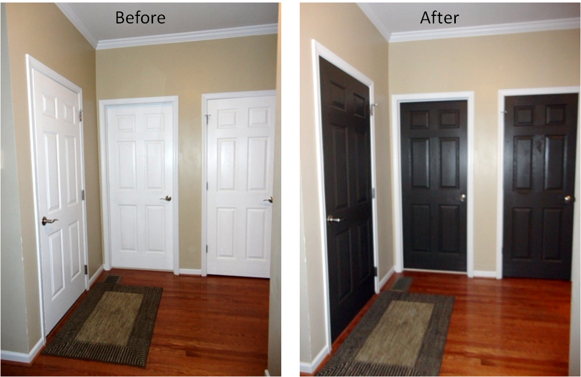 Black interior doors before and after interior design decor pinterest black interior Outside paint for wood