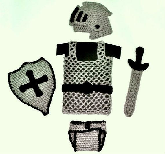 Knight Helmet / Diaper Cover / Chainmail vest / Sword and shield ...