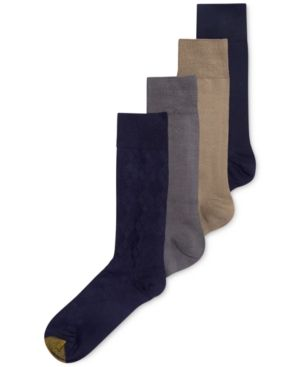 Gold Toe Men's Socks, Microfiber Assorted Textures Dress Crew 4-Pack, Only at Macy's - Blue 10-13