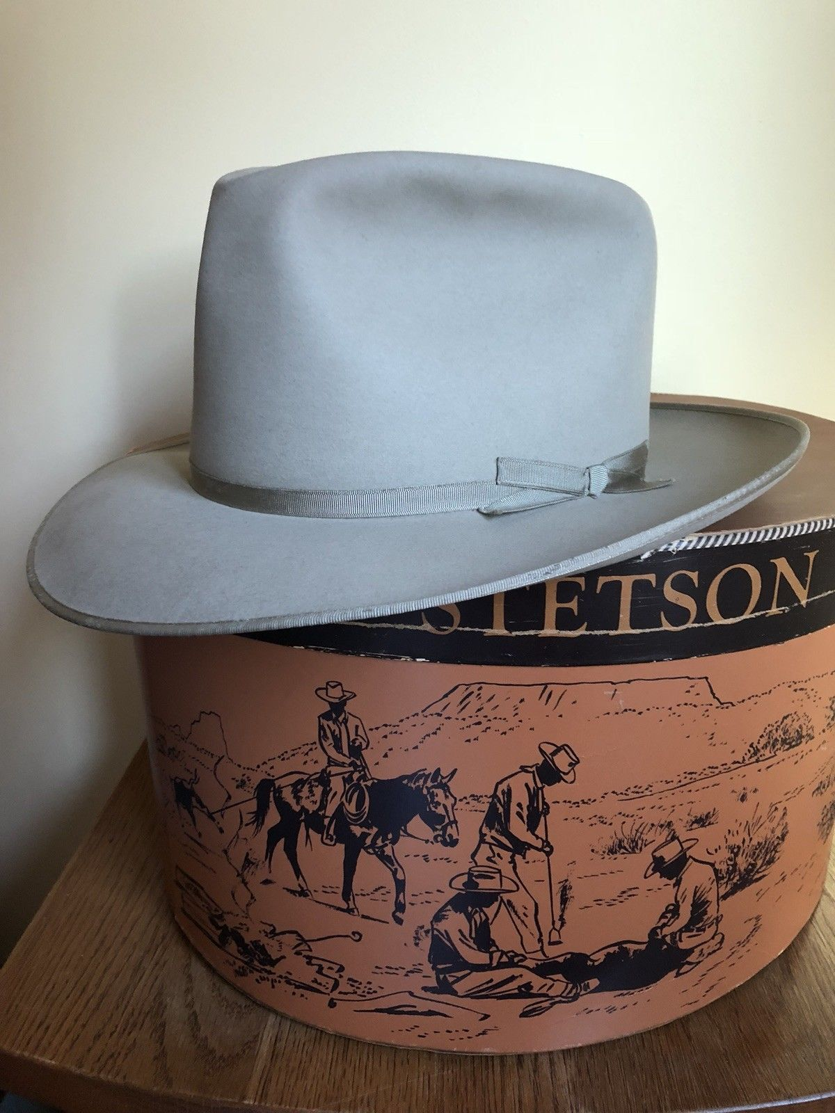 "Vintage 1950s Stetson ""25"" Fedora Hat 7 1 4 W box  1effe5917ad3"