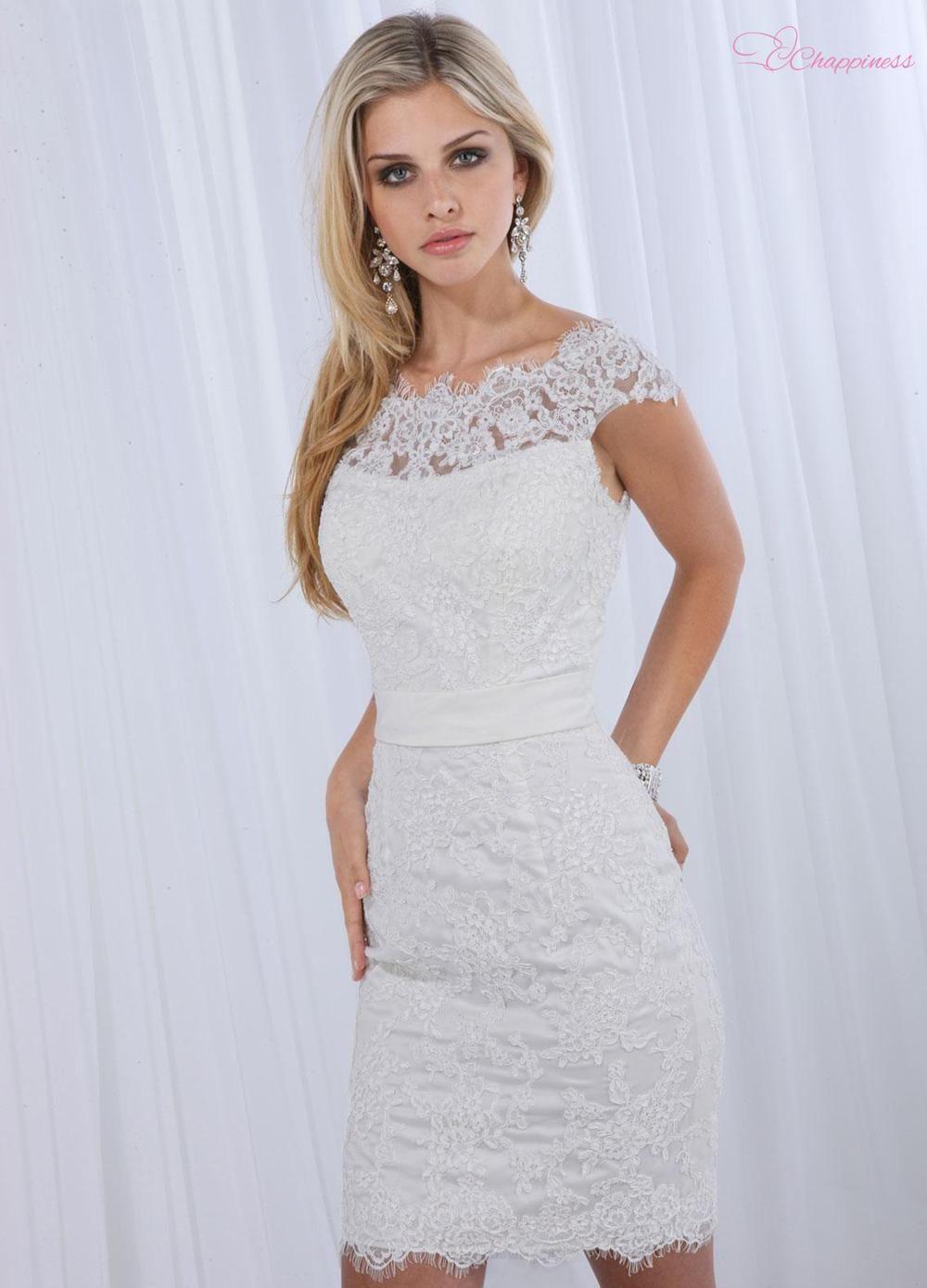 Mini white wedding dress  Free Shipping Little White Dresses Bateau Mini Short Satin Lace