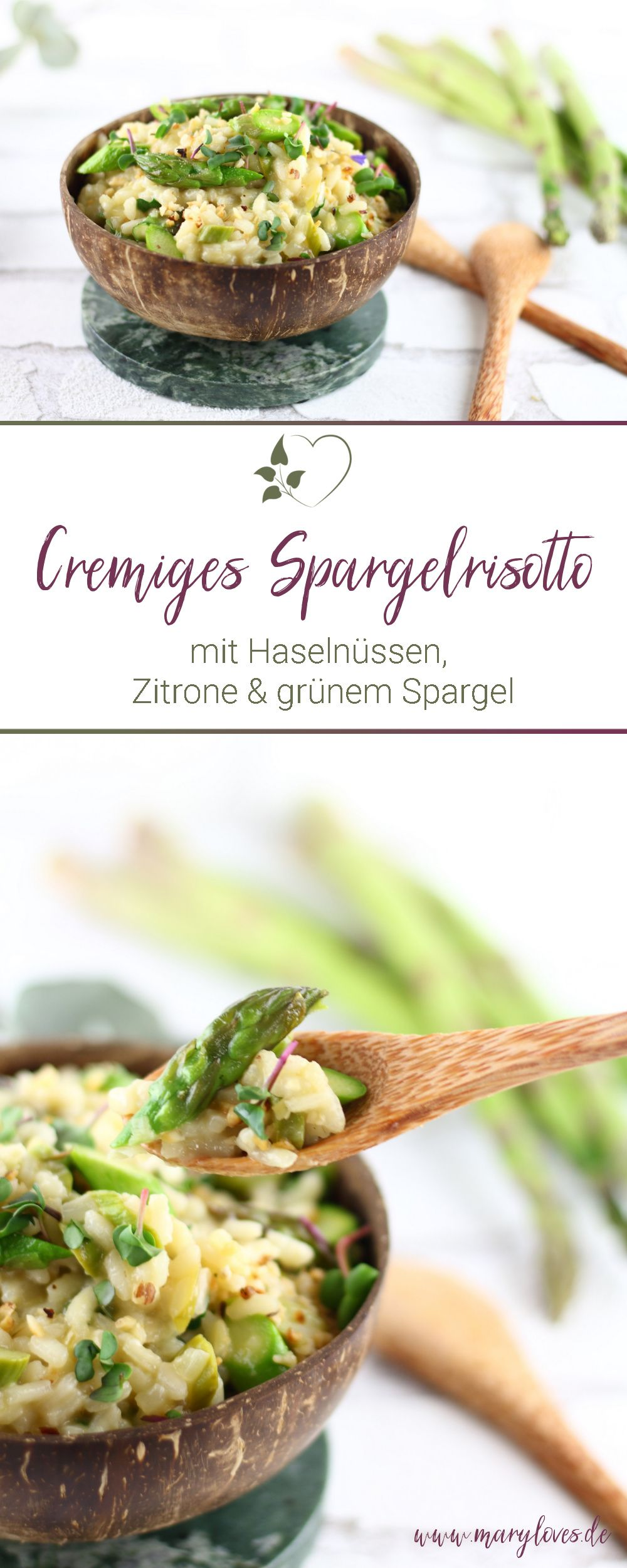 Cremiges Spargelrisotto mit Haselnüssen, Zitrone und grünem Spargel
